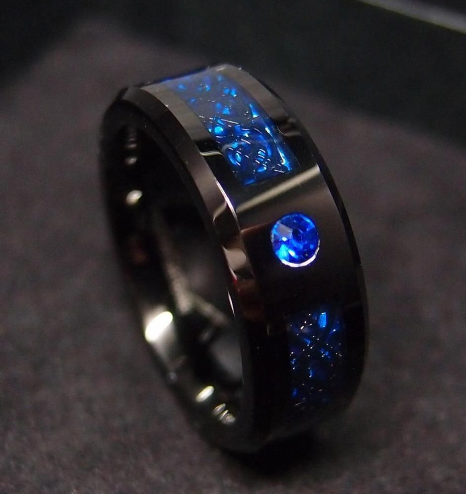 8mm Tungsten Carbide Ring Celtic Dragon Blue Sapphire Carbon Fibre Mens Jewelry In 2019 Rings Jewelry Rings For Men Rings