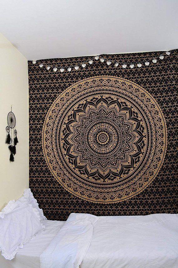 Mandala Schwarz Gold Schonheit Twin Gobelin Wandbehang Textil