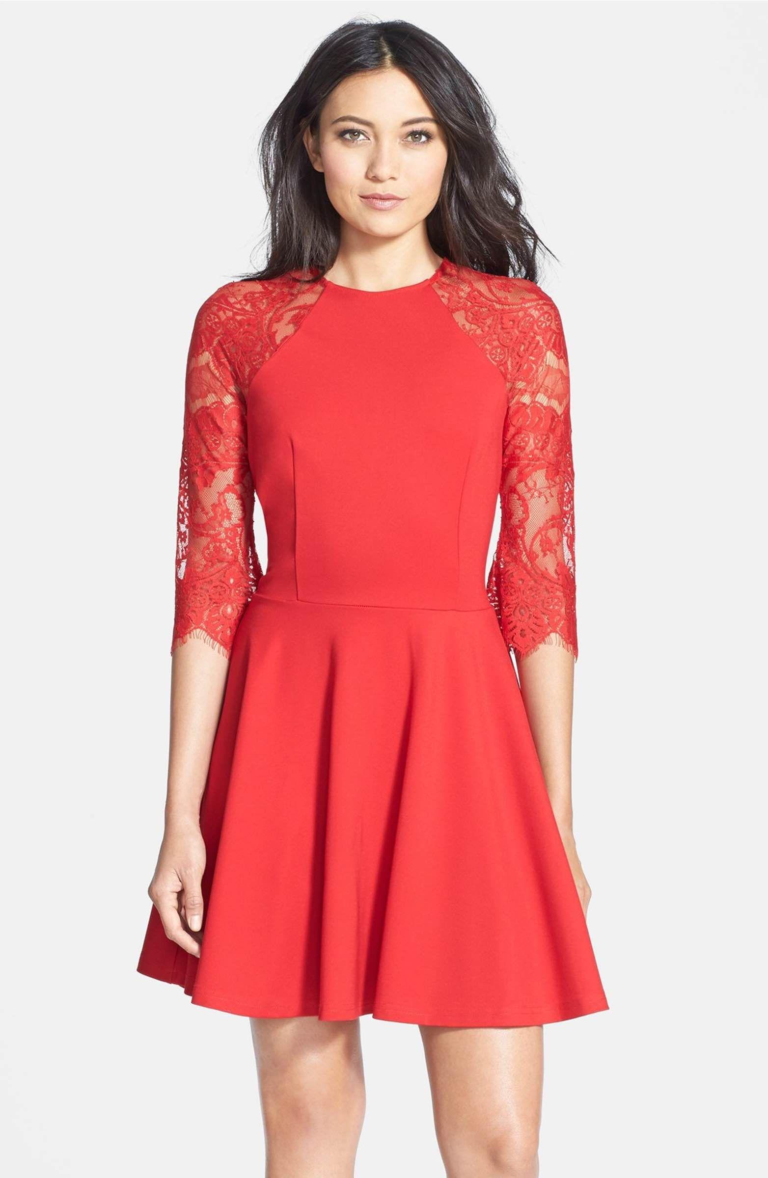 Bb Dakota Yale Lace Panel Fit Flare Dress Nordstrom Red Lace Dress Fit N Flare Dress Flare Dress [ 2400 x 1564 Pixel ]