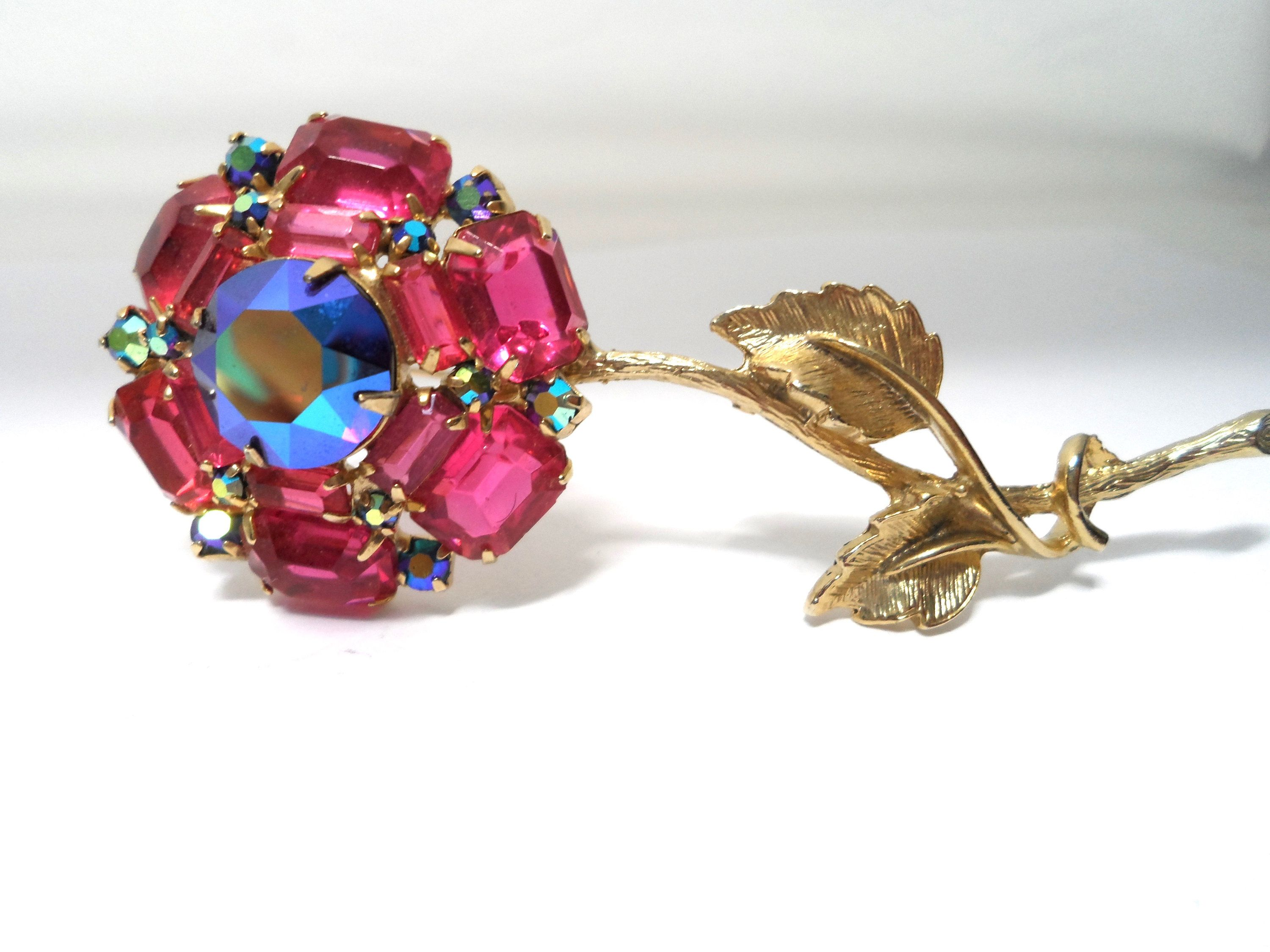 Large Dark Gold Tone Metal Ribbon Floral Brooch with Fuchsia and Light Pink Faceted Rhinestones Flower Shape Brooch with  Ribbons.