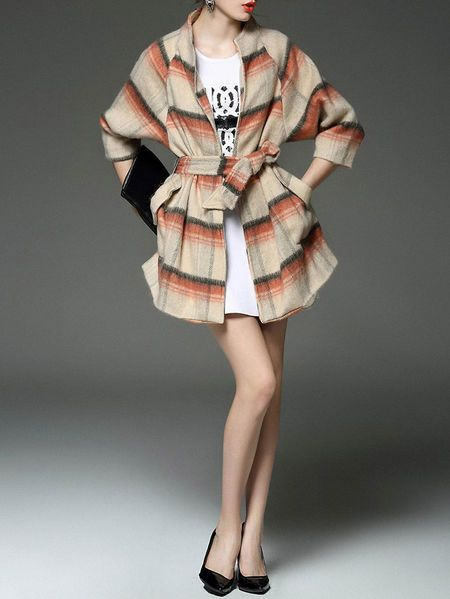 Printed/Dyed Plaid Wool blend Coat