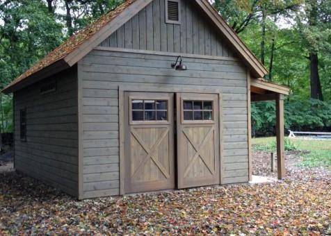 Cedar Montcrest Garage 14x24 With Cedar Shingles In Garrison New York 206907 2 Garage Door Design Backyard Sheds Backyard Barn