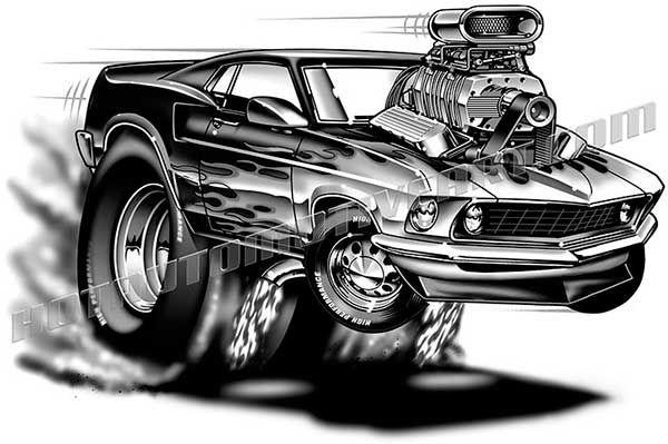 39 69 Mustang Muscle car cartoon Cartoon Muscle Cars