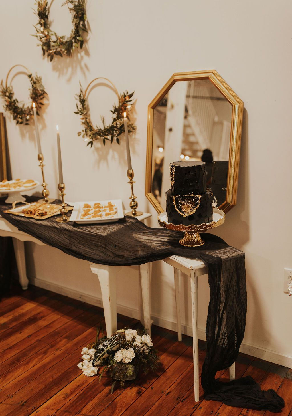Photo of Cozy, Couples' Winter Elopement in Gold + Black