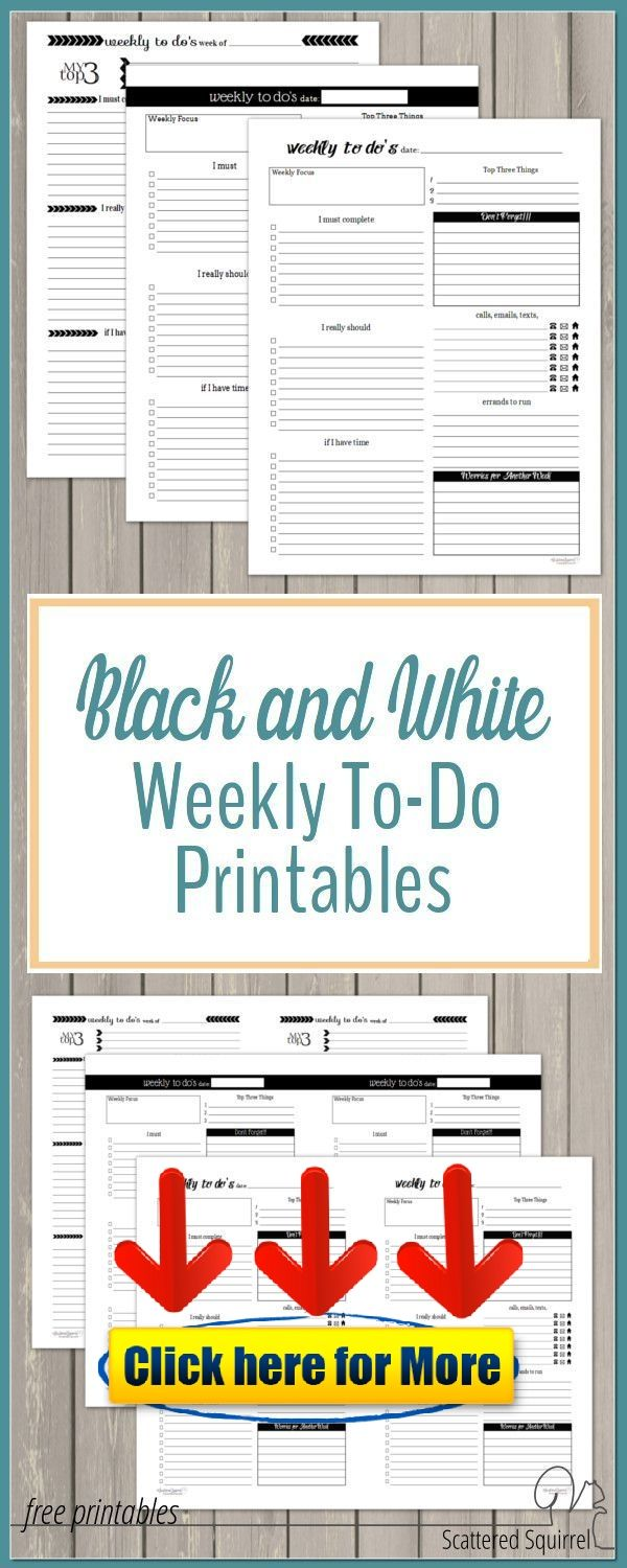 Black and White Weekly ToDo List Printables android