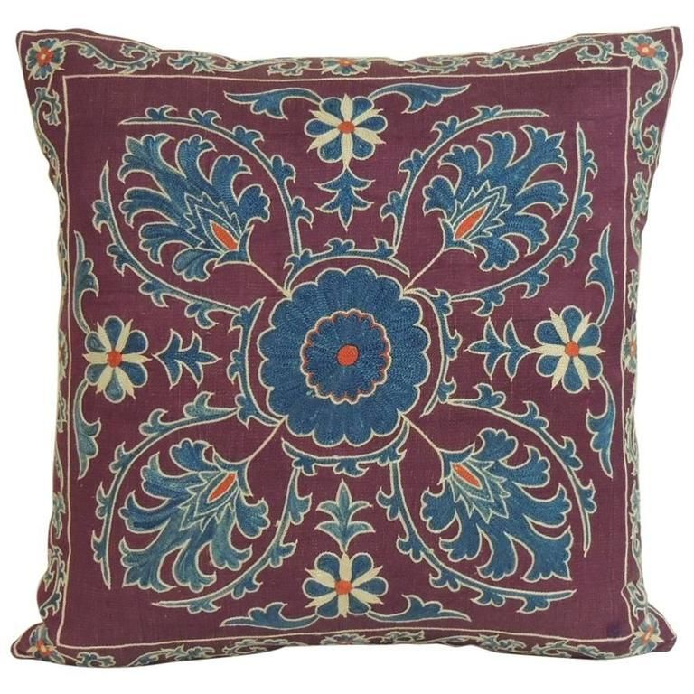 Vintage Purple and Blue Embroidery Suzani Pillow | From a unique collection of antique and modern pillows and throws at https://www.1stdibs.com/furniture/more-furniture-collectibles/pillows-throws/