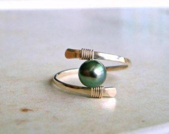 Perle Drahtring, minimalistischen Perle Ring, Solitär Perle, Gold ...