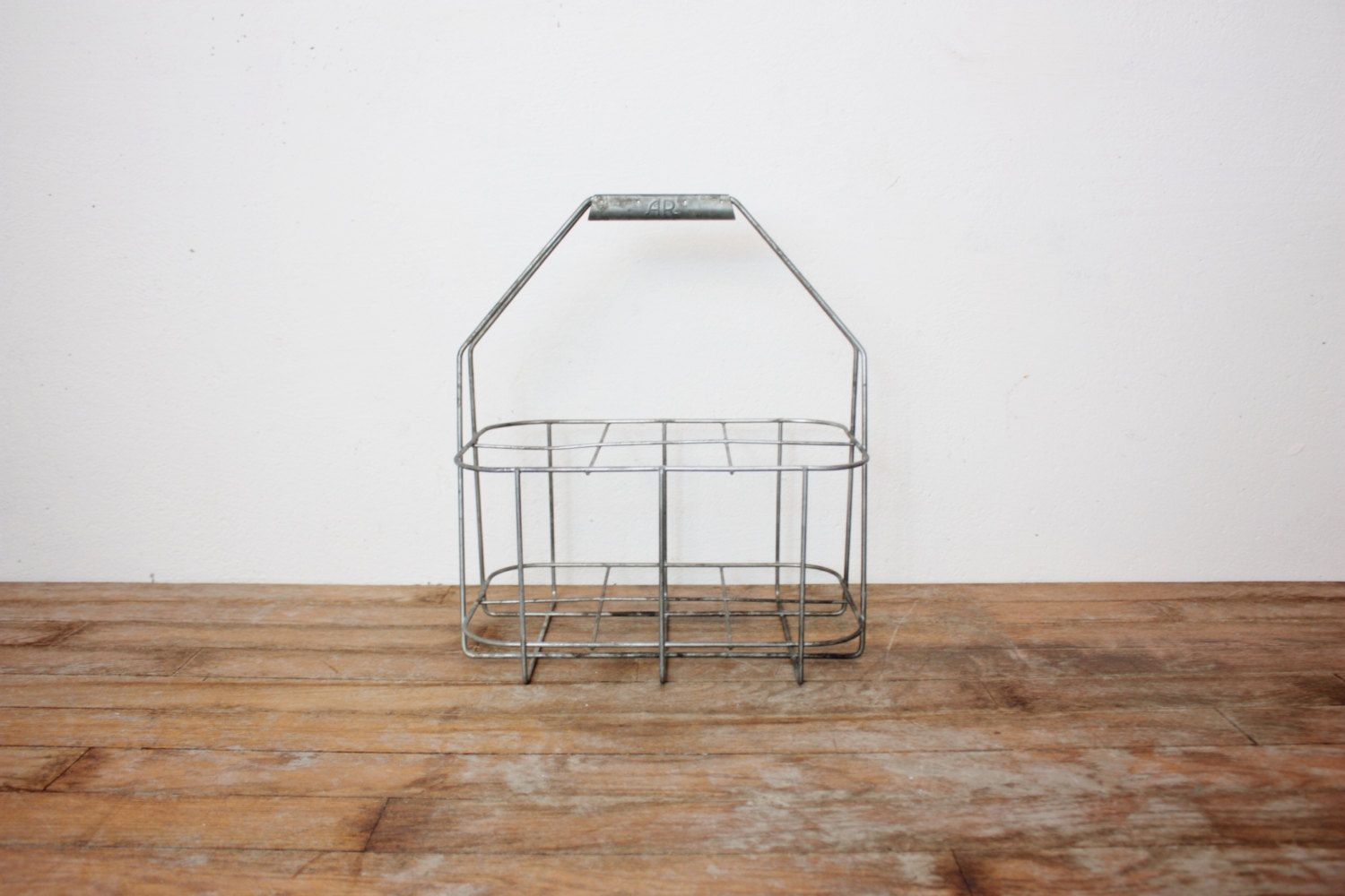 Vintage French Metal Wire Industrial Style Bottle Carrier