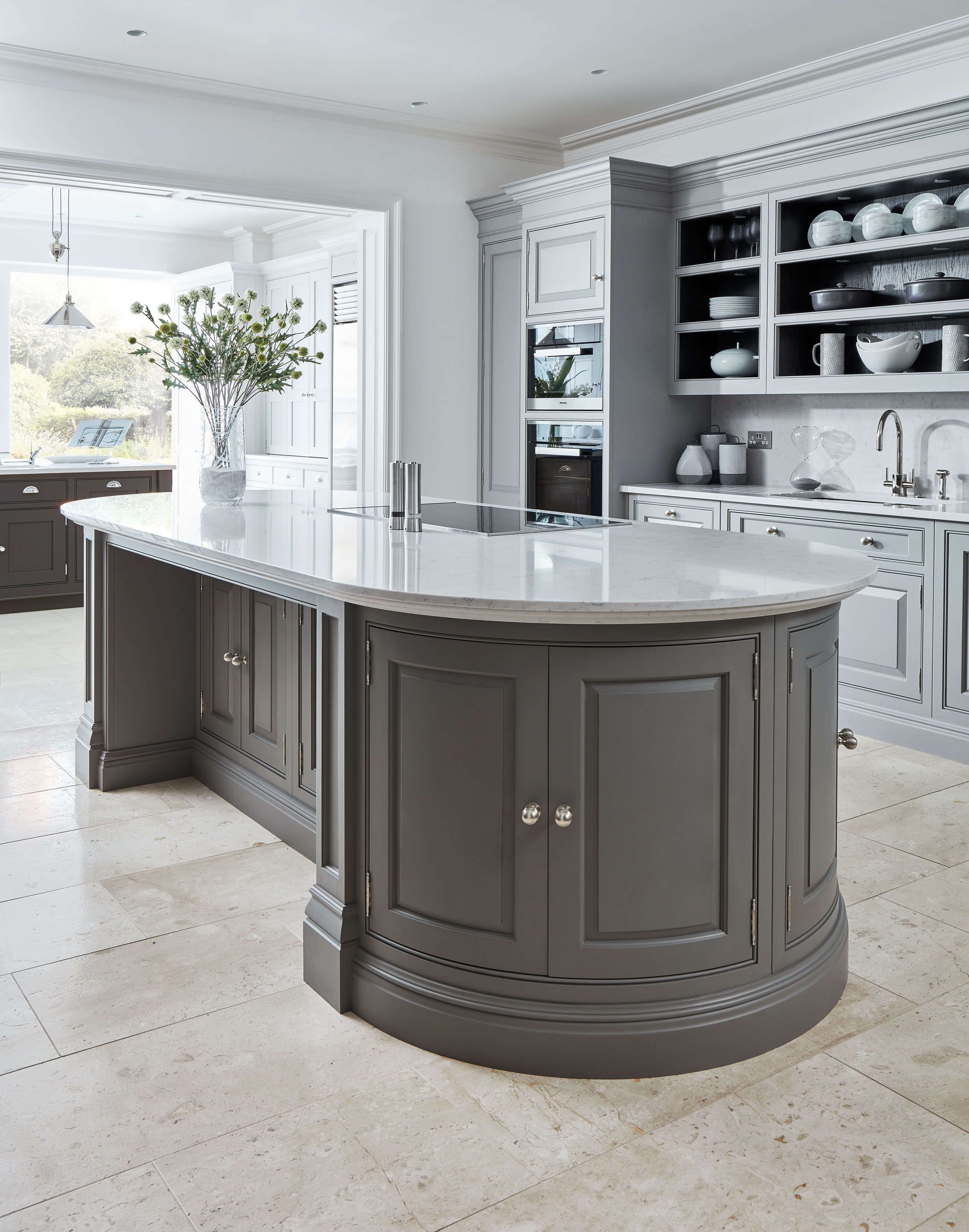 Curved Grey Island in 2020 Home decor kitchen, Luxury
