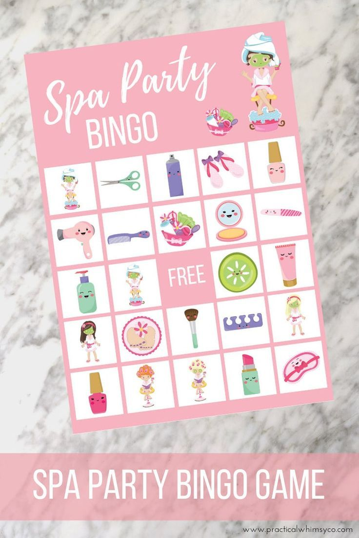 Spa party for girls BINGO cards, Pamper party birthday game, family game night for kids -   15 makeup Party kids ideas
