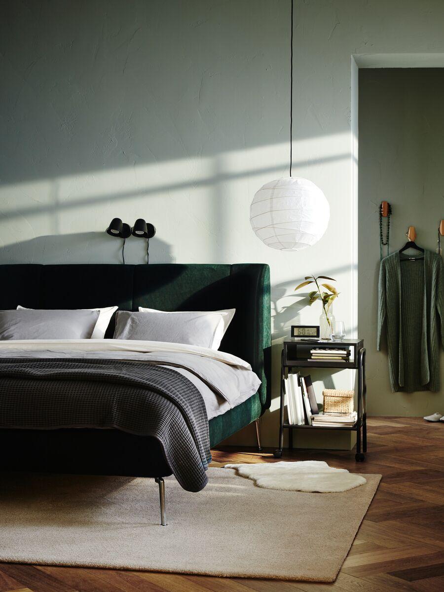 Setskog Bedside Table Black 45x35 Cm Ikea Switzerland Modern Bedroom Interior Interior Decoration Bedroom Apartment Bedroom Design [ 1200 x 900 Pixel ]