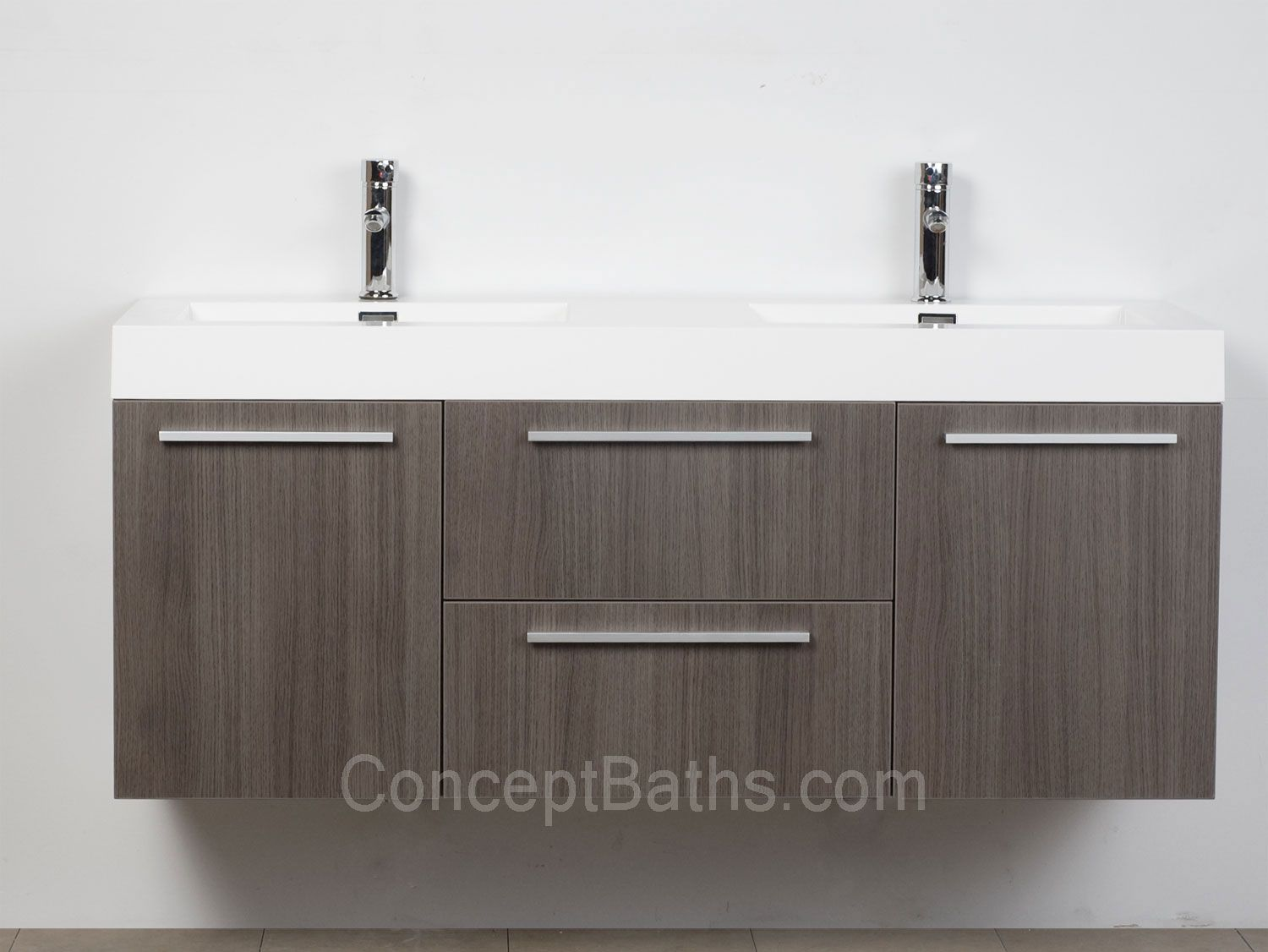 Wall Mounted Double Modern Bathroom Vanity Grey Oak Tn T1380 Go