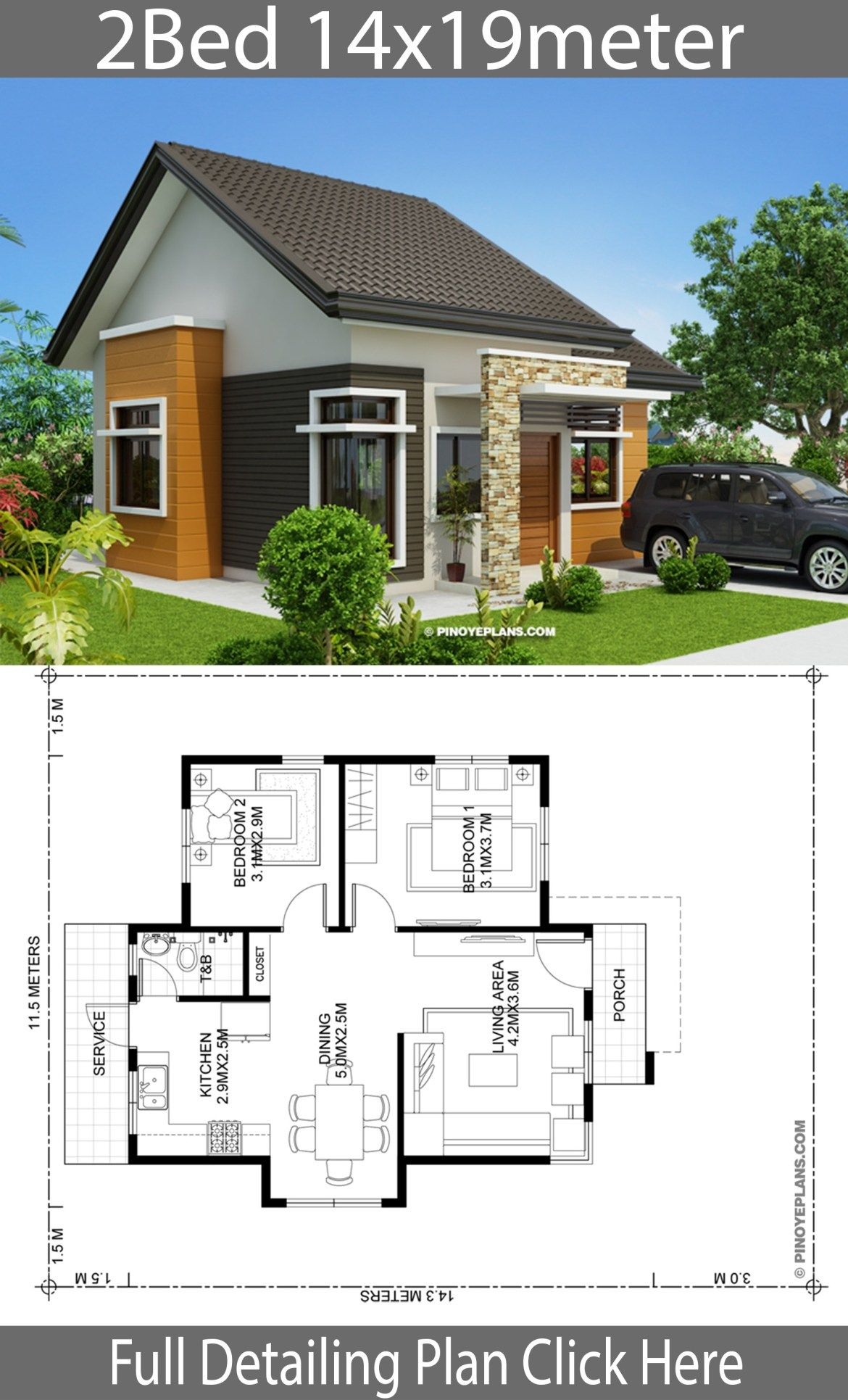 Home Design Plan 14x19m With 2 Bedrooms Home Planssearch Modern Bungalow House Small House Design Plans House Plan Gallery
