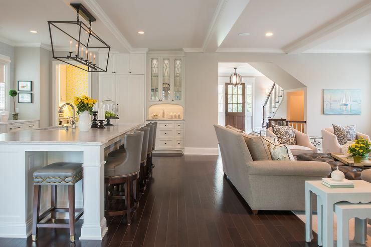 This Open Concept Space Featuring A Kitchen S Transition Into A