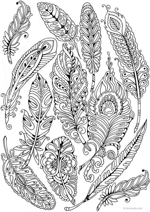 Feathers - Printable Adult Coloring Page from Favoreads ...
