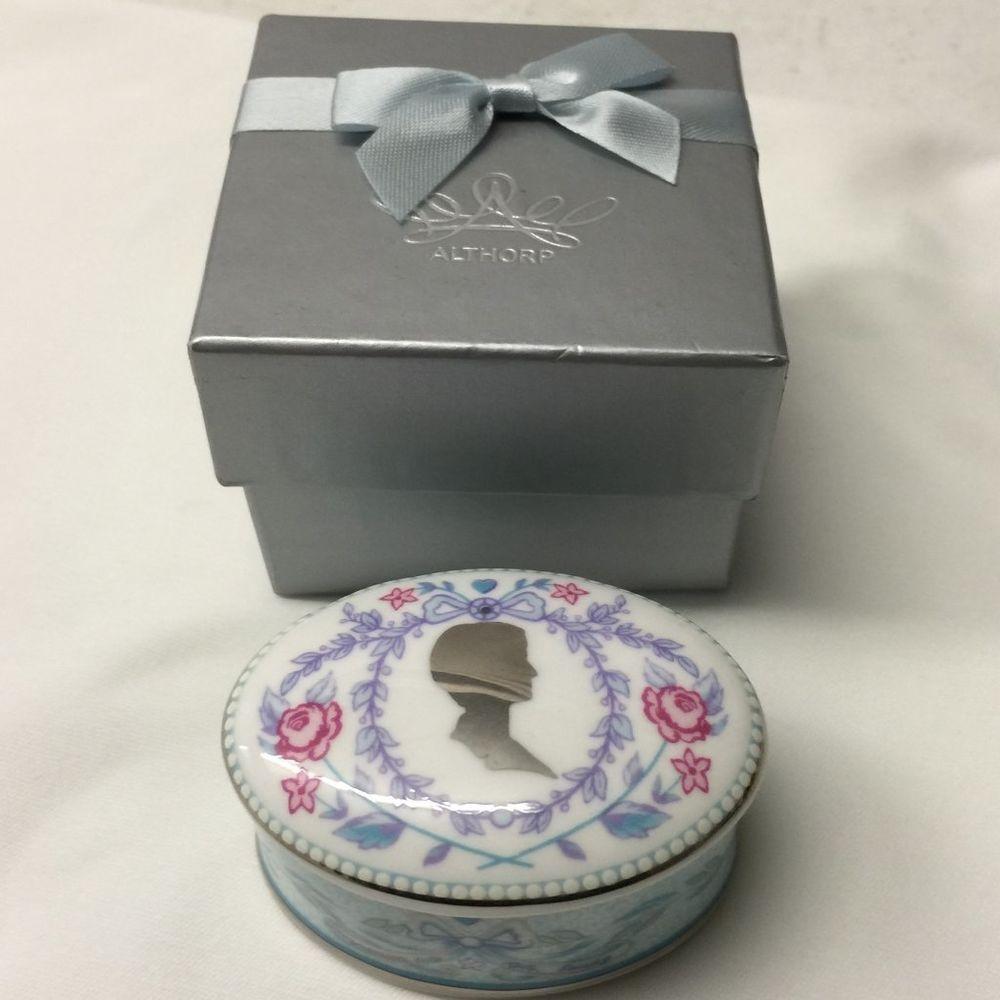 """The People's Princess"" PRINCESS DIANA COMMEMORATION TRINKET BOX – ALTHORP ~ MINT ~Bone China & Platinum"