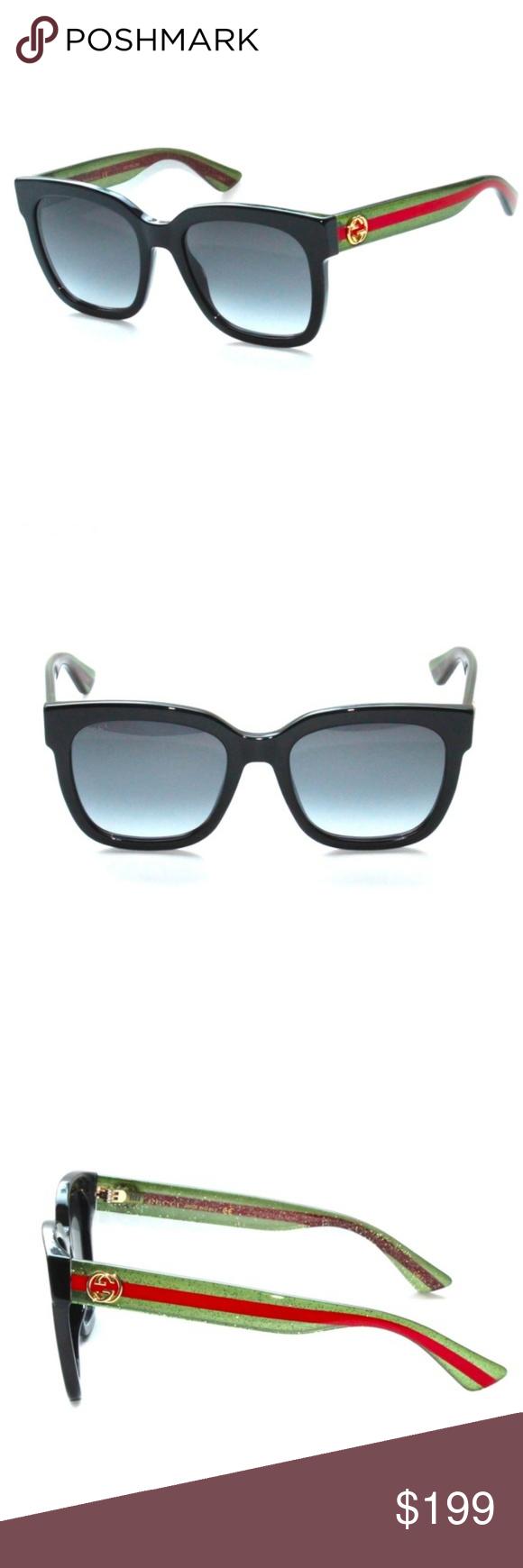 71f21c7ea82 GUCCI GG0034S 002 Black-Green-Red Grey Gradient Le Gucci 100% AUTHENTIC