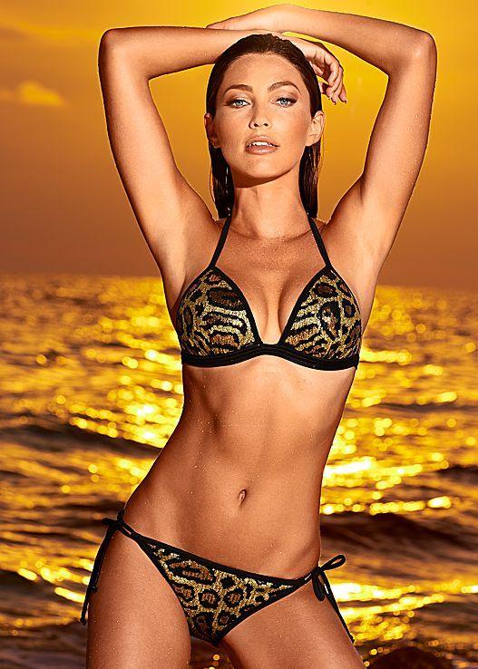 7c98143428ab4 Take a walk on the wild side beautiful... Venus Enhancer push-up triangle  with sequin string bikini bottom.