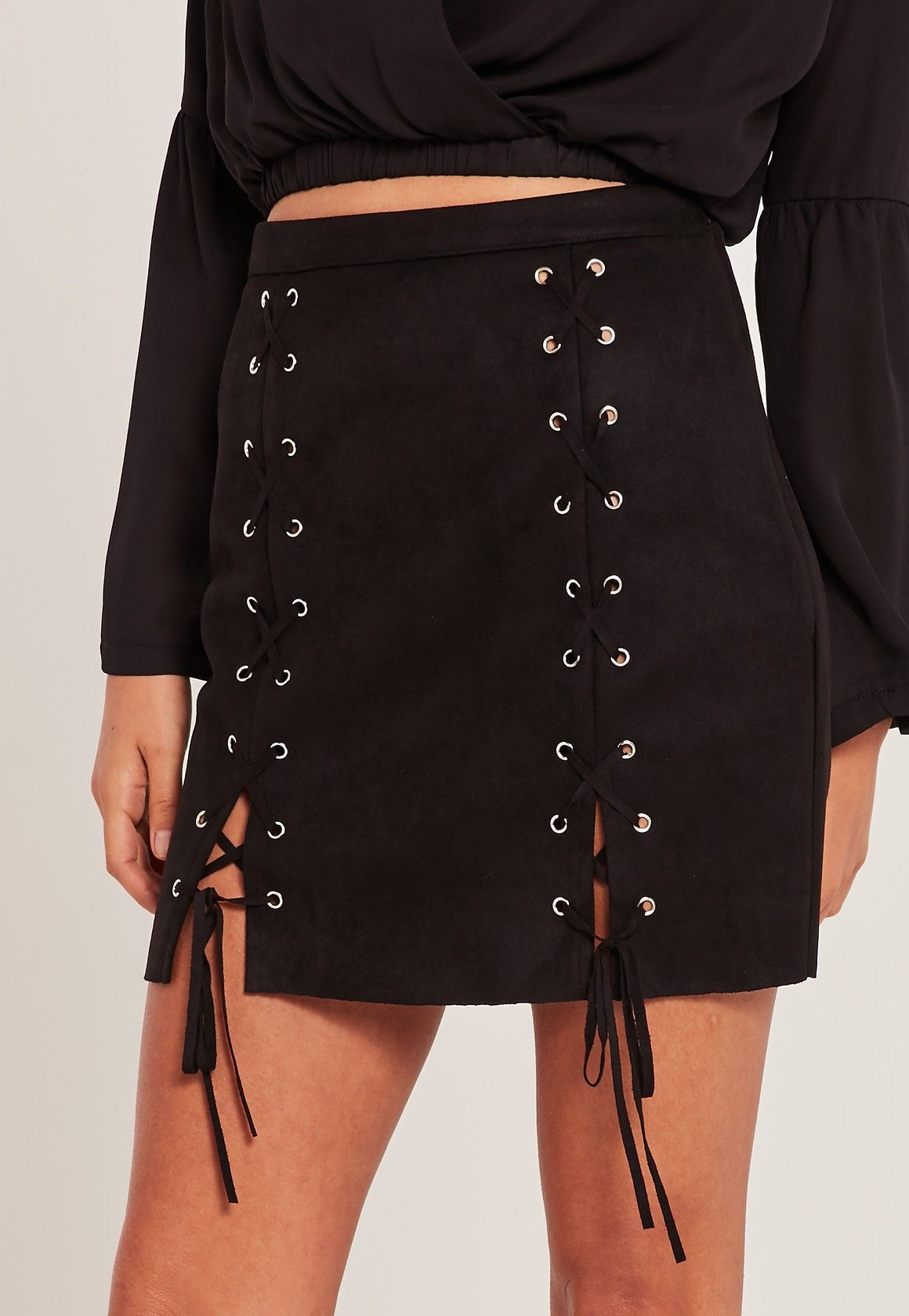 633bf231a Missguided - Black Faux Suede Eyelet Lace Up Mini Skirt   art in ...