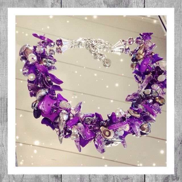 Necklace Purple Amethyst handmade.