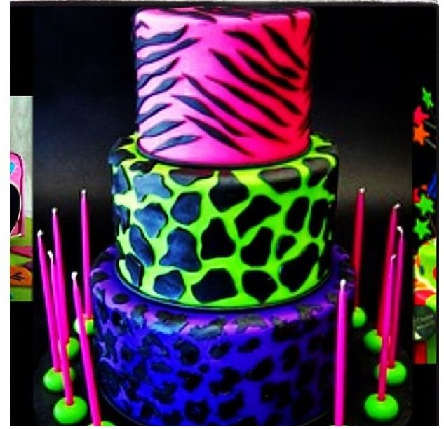 Cool neon color cake Baby Shower Ideas Pinterest Cooking