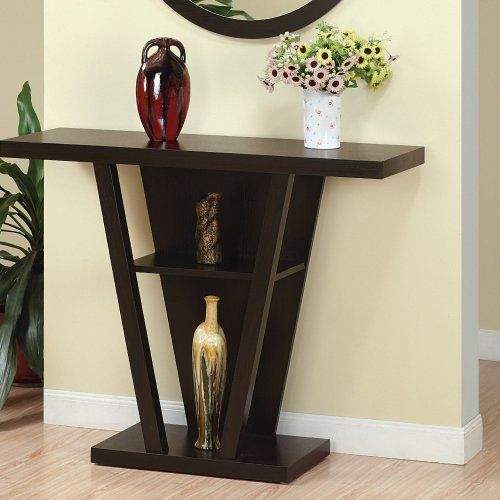 Entrance Hallway Console Table Brown Reverse Pyramid Modern New Modern Console Tables Decor Wooden Console Table