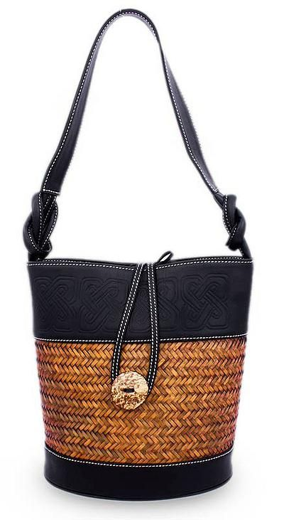 Palm And Leather Accent Handbag Black