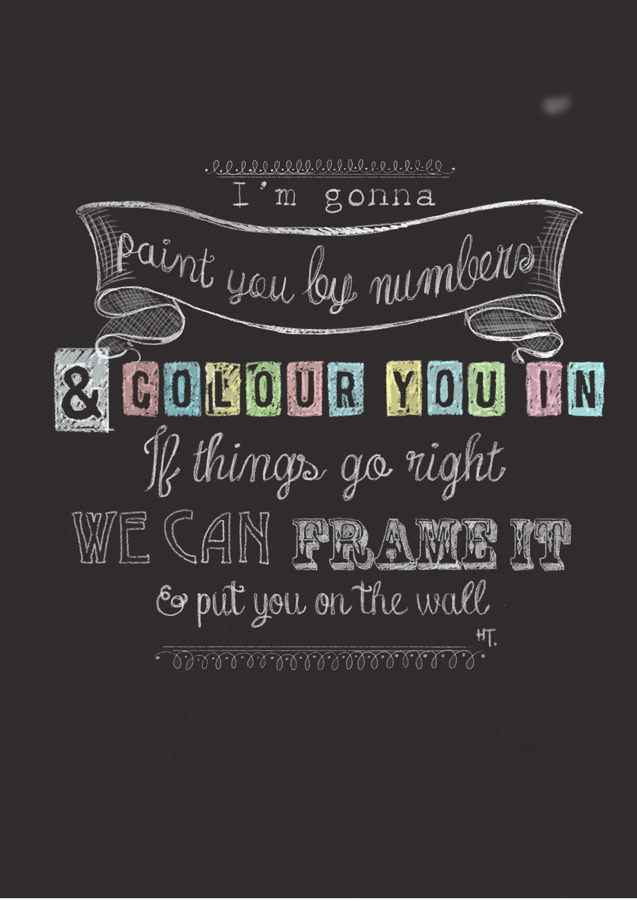ed sheeran lego house lyrics on chalk board Graphic illustration digital paint