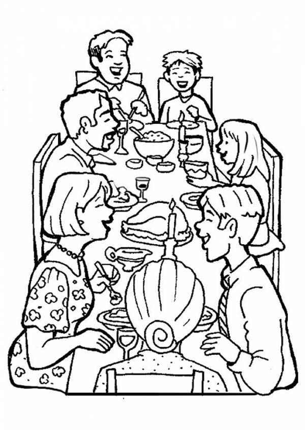 Family Dinner Together Coloring Page Coloring Sky Family Coloring Pages Coloring Pages Family Coloring