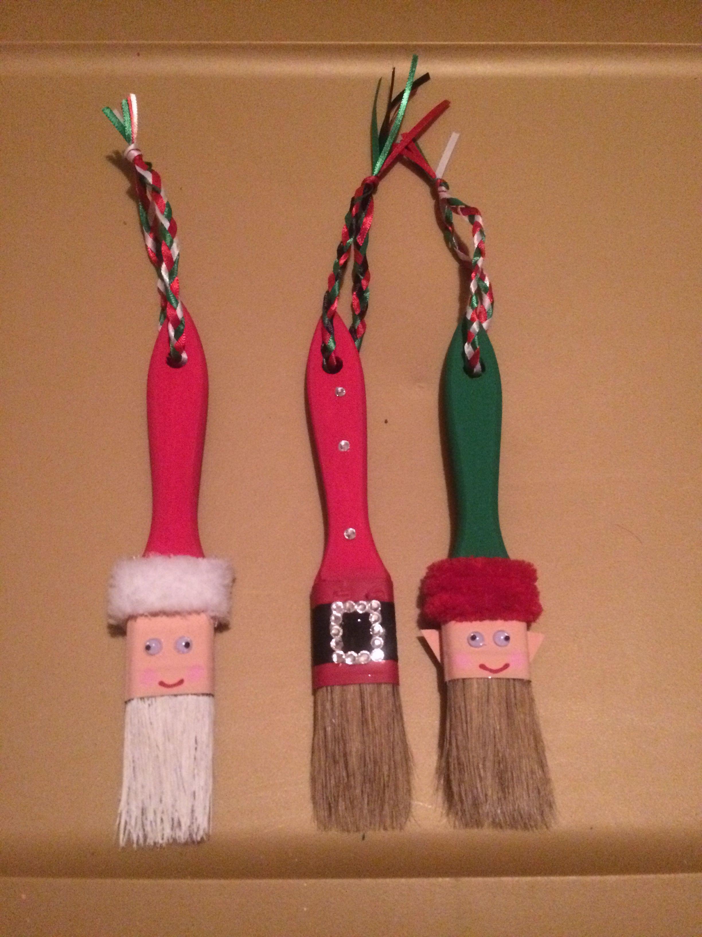 Santa And Elf Paintbrushes Christmas Crafts Girls Night Crafts Xmas Crafts
