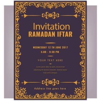 Free Vector Invitation Ramadan Iftar Greeting Card Vector Free Invitations Ramadan