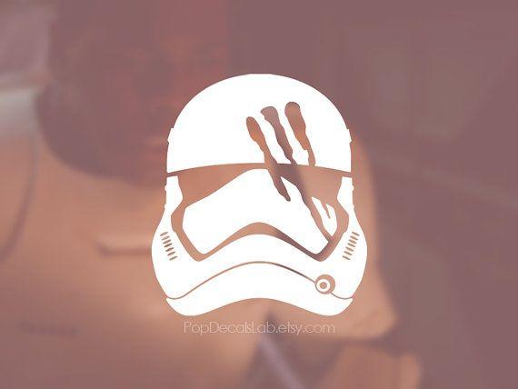 Finn Stormtrooper Helmet Decal   Bloody Helmet Sticker   Star Wars   Wall  Car Macbook Decal  Laptop Sticker   Made In USA   PopDecalsLab