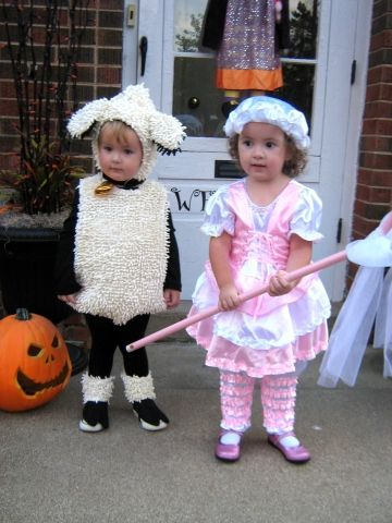 Little Bo Peep and Sheep Twins Halloween Costumes would