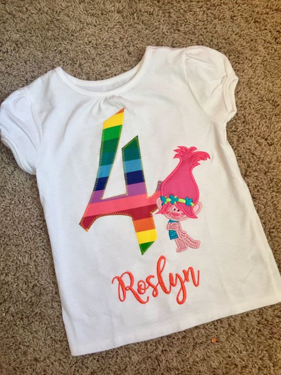 Poppy Birthday Shirt Pink Troll Hair Rainbow Free Shipping Embroidery Design