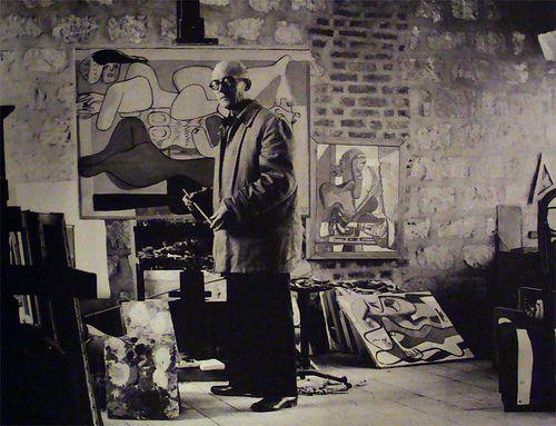 Le Corbusier in his studio