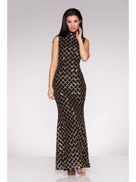 Black And Gold Sequin High Neck Fishtail Maxi Dress | Pinterest