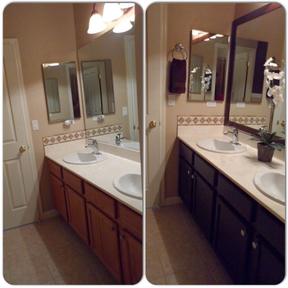 Main Bathroom Remodel Framed Mirror With Mdf Trim Then Spray Painted With Rustoleum Bathrooms Remodel Painted Vanity Bathroom Bathroom Remodel Small Shower