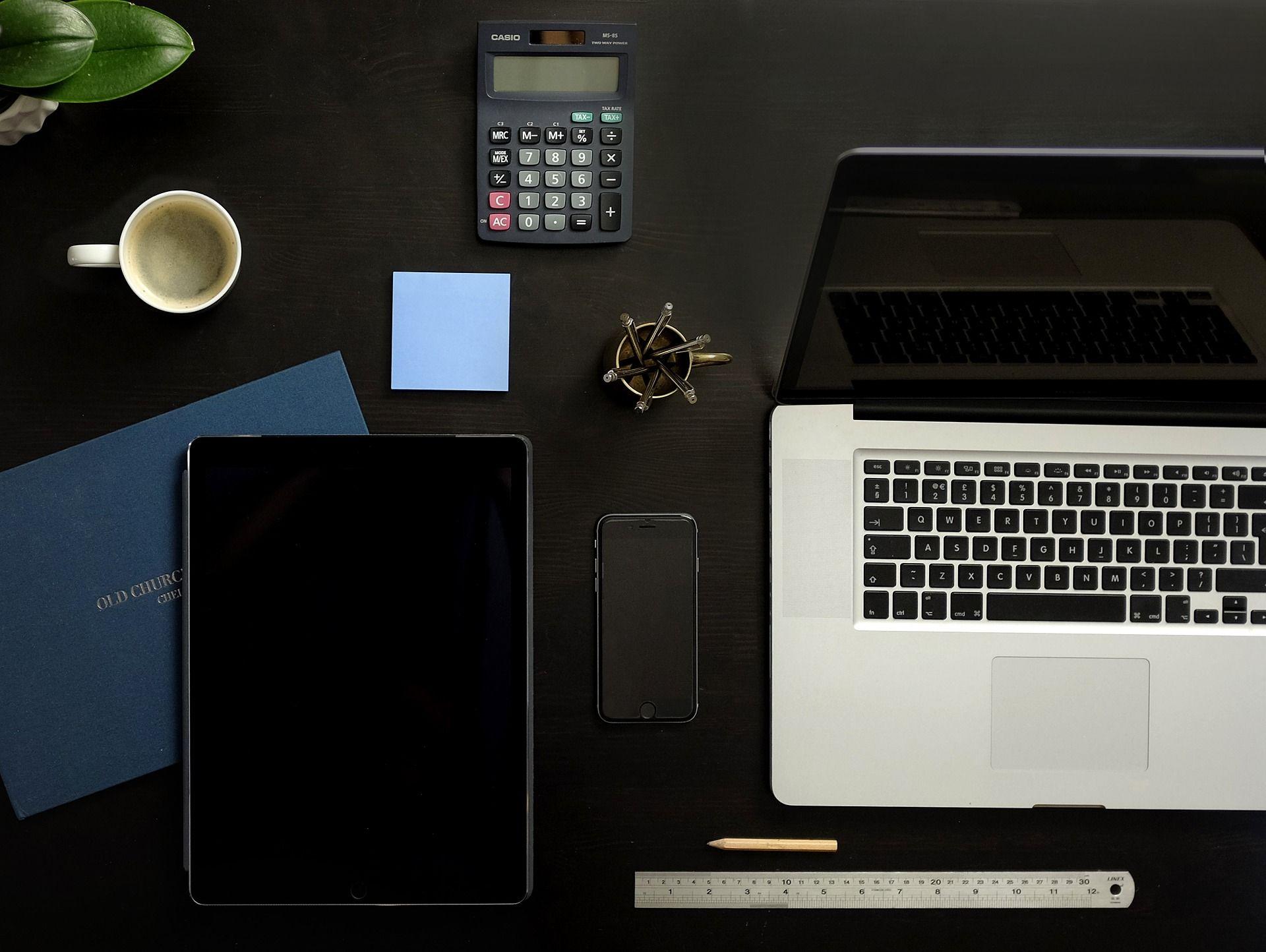 Organised desk space