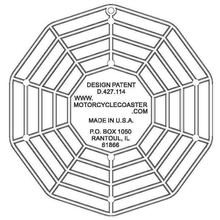 This picture depicts the ribbed back side (the under side of the coaster when using it) of a Motorcycle Coaster®. The Motorcycle Coaster® is sometimes referred to as a kickstand pad, kickstand plate, side stand pad, side stand plate, or puck.   It is specifically designed as a motorcycle kickstand support aide for soft surfaces and is designed for your custom printed message.