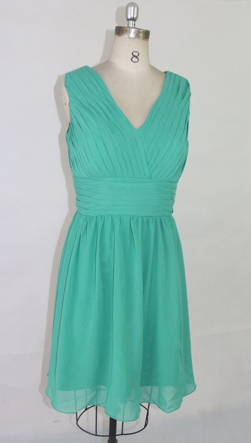 Green cocktail dress v-collar chiffon fabric factory direct Low-cost ...