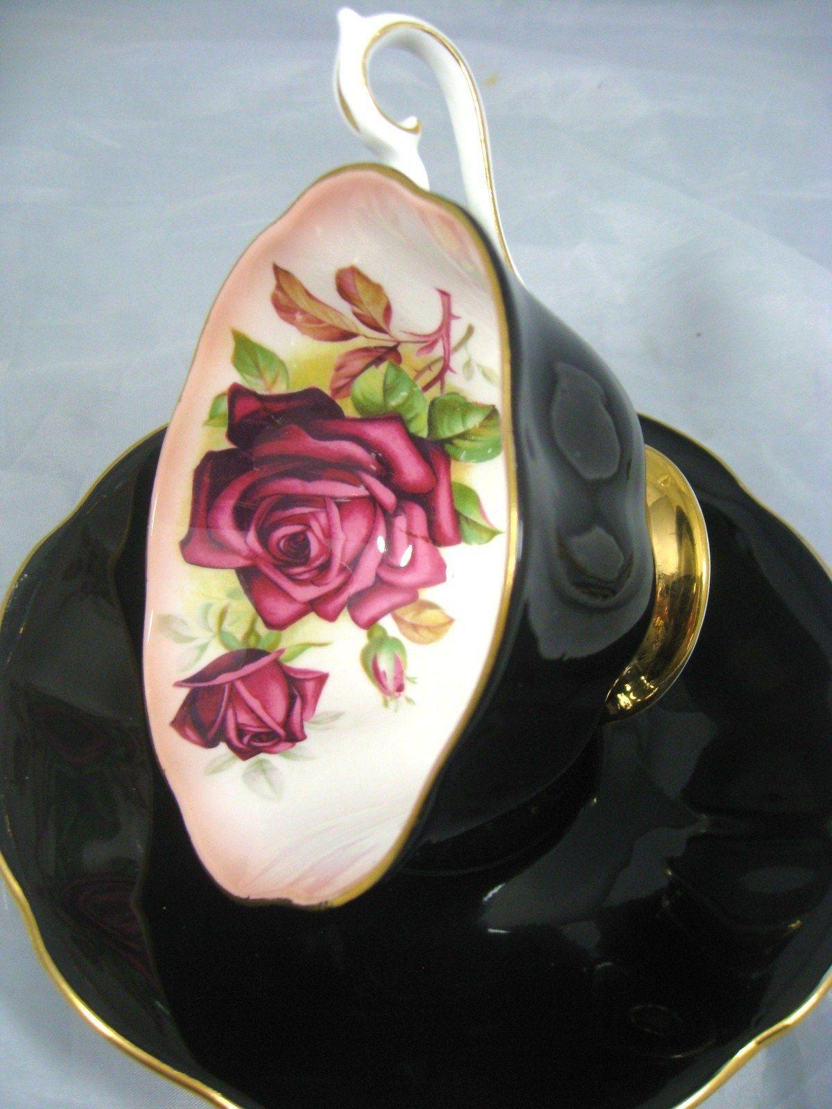 Royal albert bone china tea cup amp saucer winsome pattern ebay - Details About Royal Albert Milady Series Black Burgundy Rose Tea Cup And Saucer
