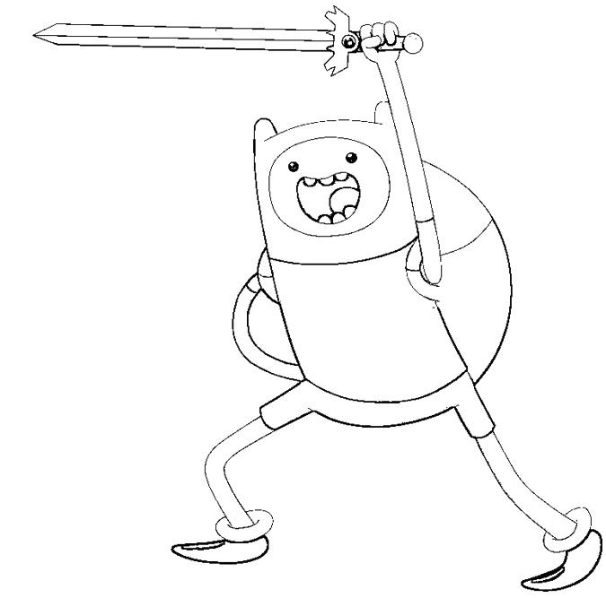 Adventure Time Finn Use Sword Coloring Pages - Adventure Time ...