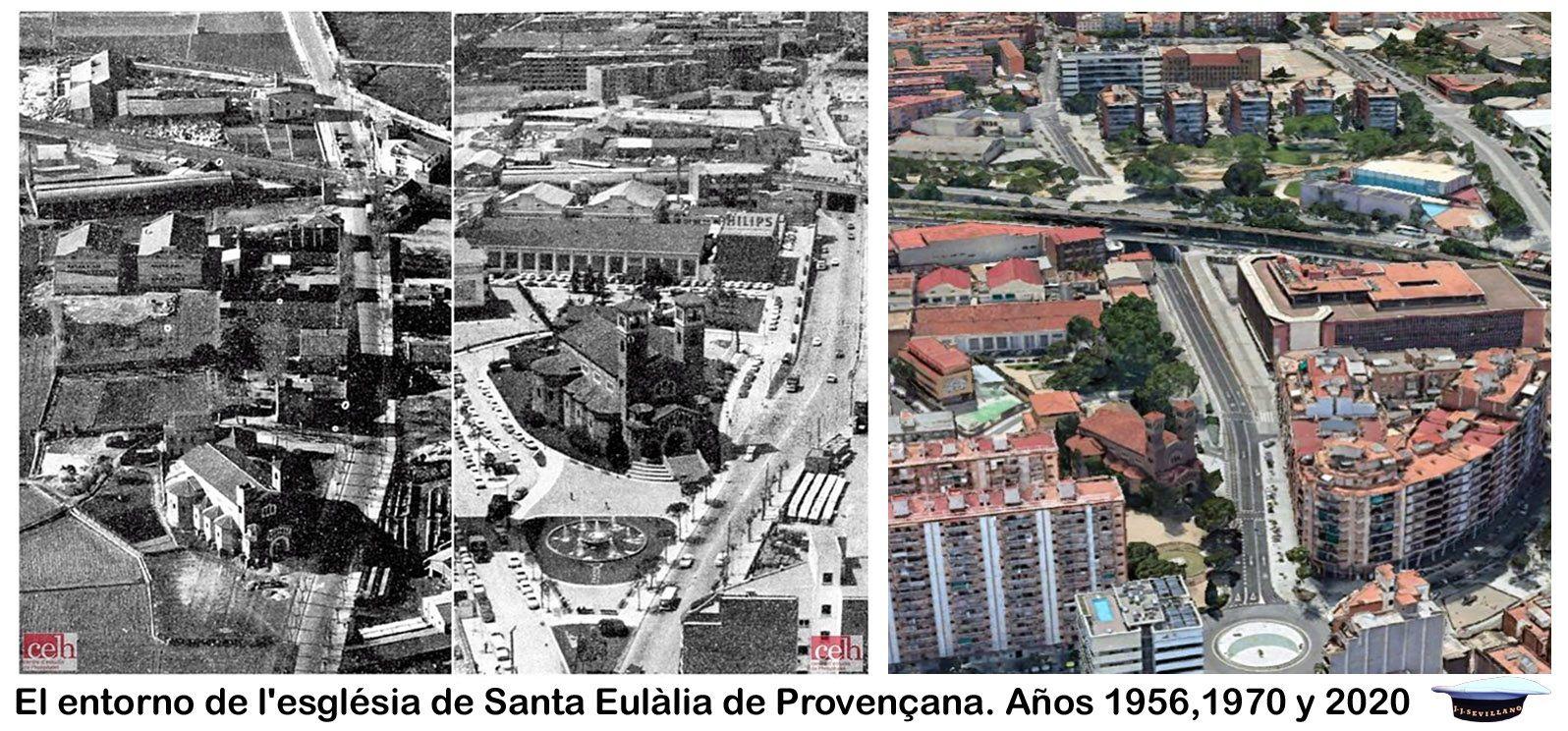 El Entorno De L Església De Santa Eulàlia De Provençana Años 1956 1970 Y 2020 Focos
