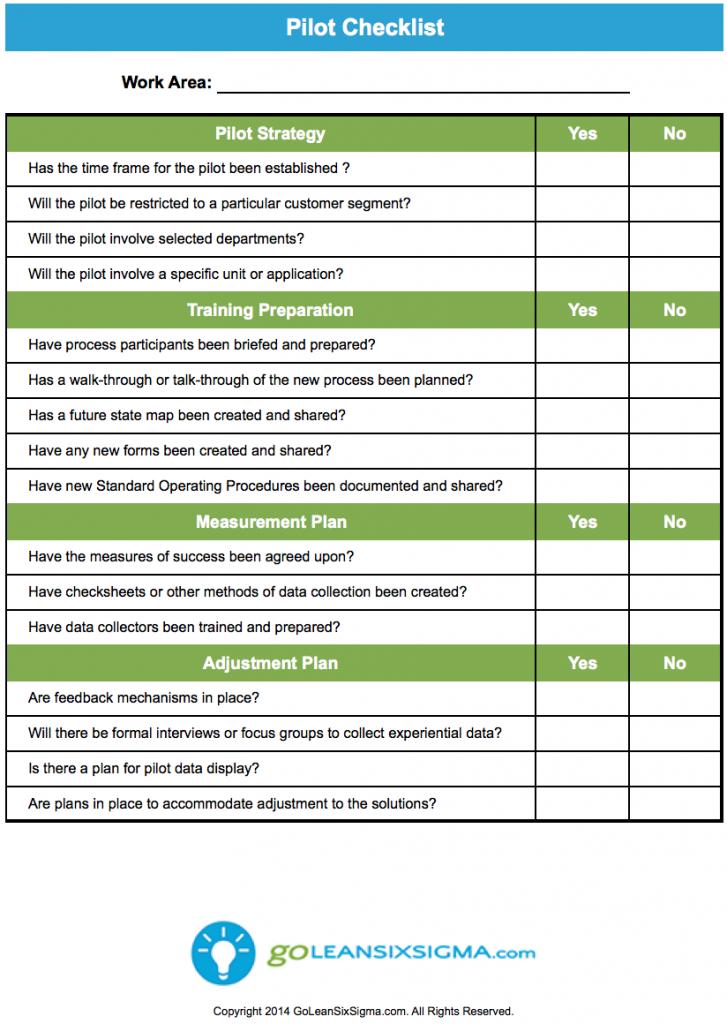 pilot checklist goleansixsigmacom free templates