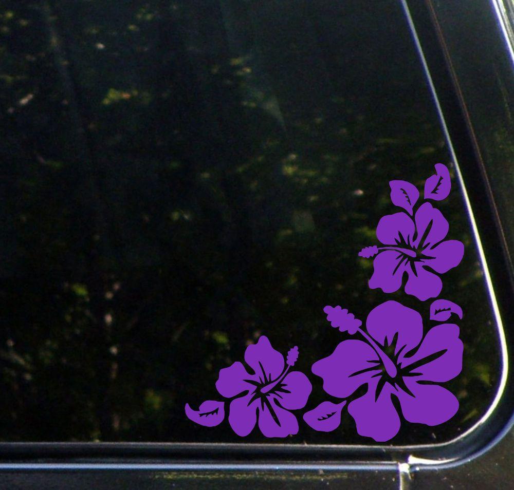 Car Hibiscus Corner Design1 Car Vinyl Decal Sticker Purple Right Car Decals Vinyl Hibiscus Vinyl Decals [ 954 x 1000 Pixel ]