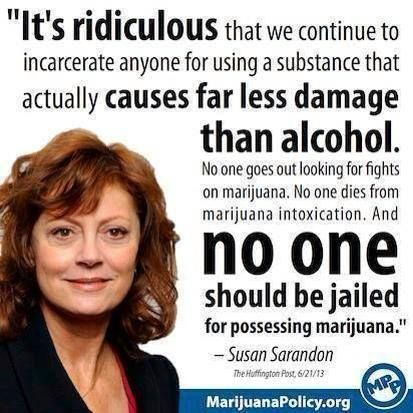 """It's ridiculous that we continue to incarcerate anyone for using a substance that actually causes far less damage than alcohol. No one goes out looking for fights on marijuana. No one dies from marijuana intoxication. And no one should be jailed for possessing marijuana."" ~ Susan Sarandon"