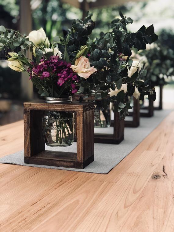 Rustikale Holzvasenaufsätze, Dekor auf der Hochzeitsinsel, Partydekorationen ... #WoodWorking - Fitn...