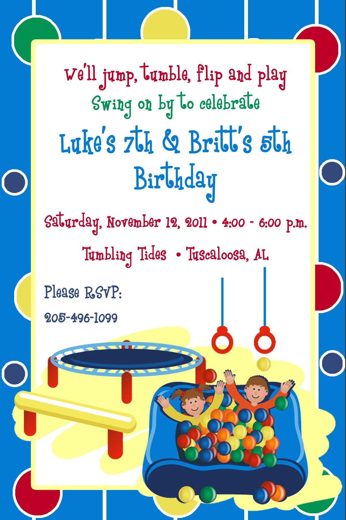Gymnastics / Ball Pit Birthday Invitations | Birthday Invitations ...