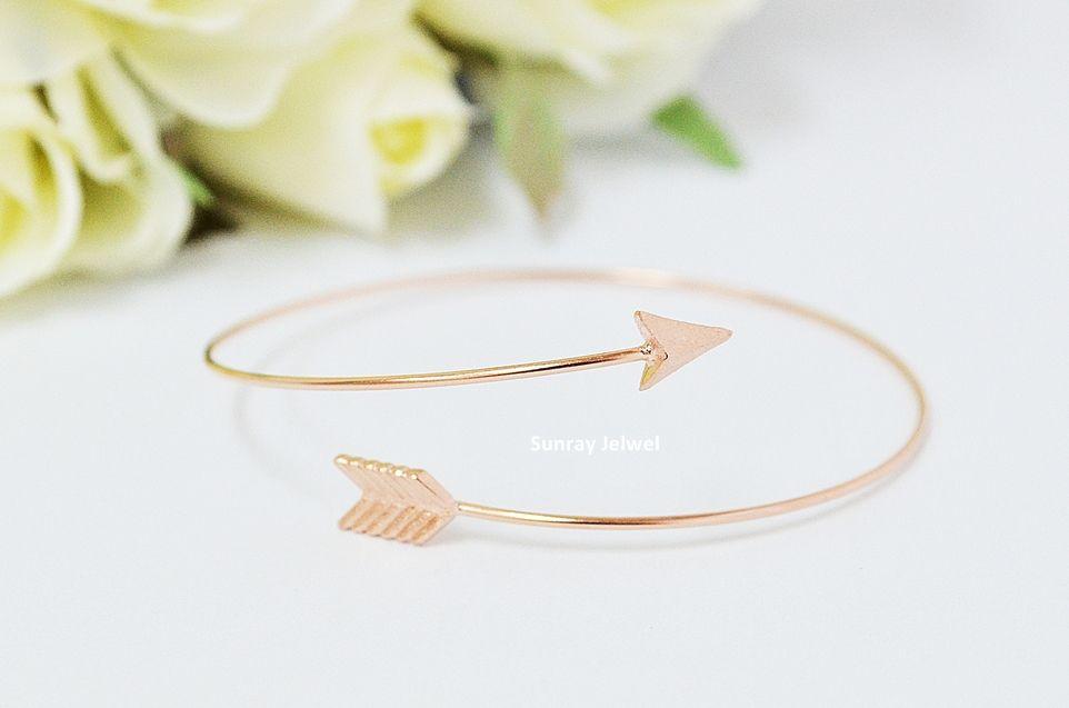 Arrow Bangle Bracelet In Rose Gold