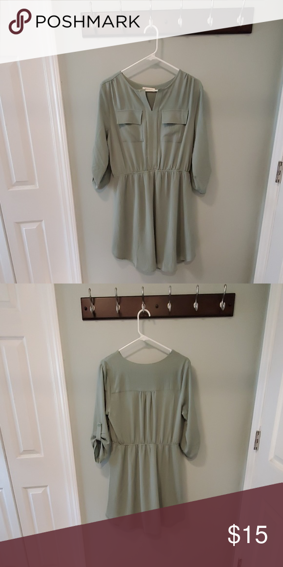 Monteau shirt style dress, sage green Dress has two front pockets, three quarter length sleeves, and is fully lined. Perfect work dress. Worn once. Monteau Dresses #sagegreendress